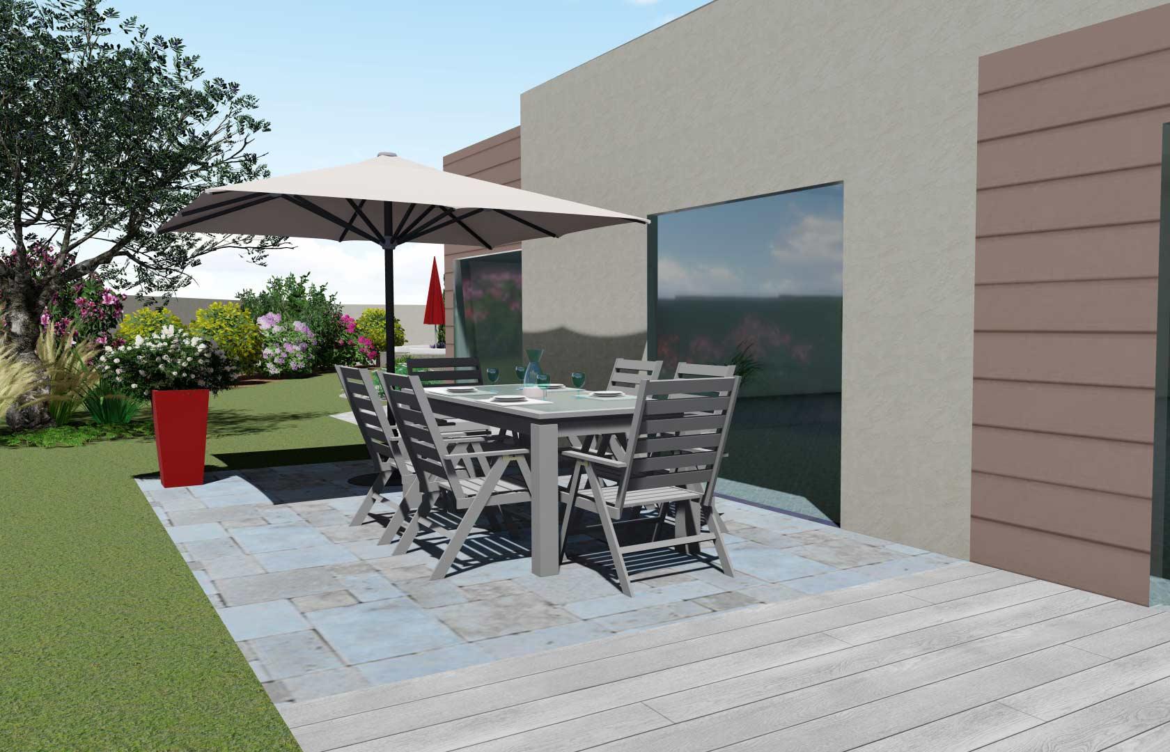 Votre terrasse conçu par un paysagiste, Serrault Jardins.
