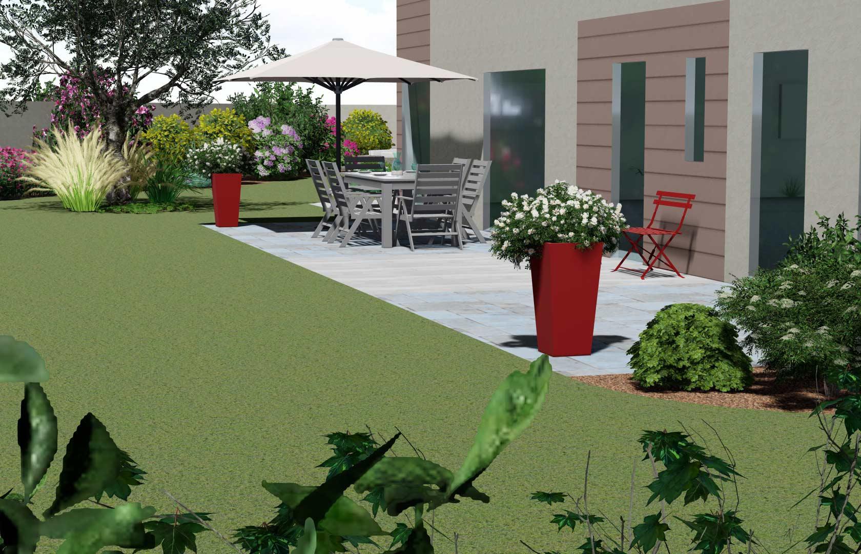 Serrault Jardins, entreprise du paysage, imagine votre terrasse en bois.