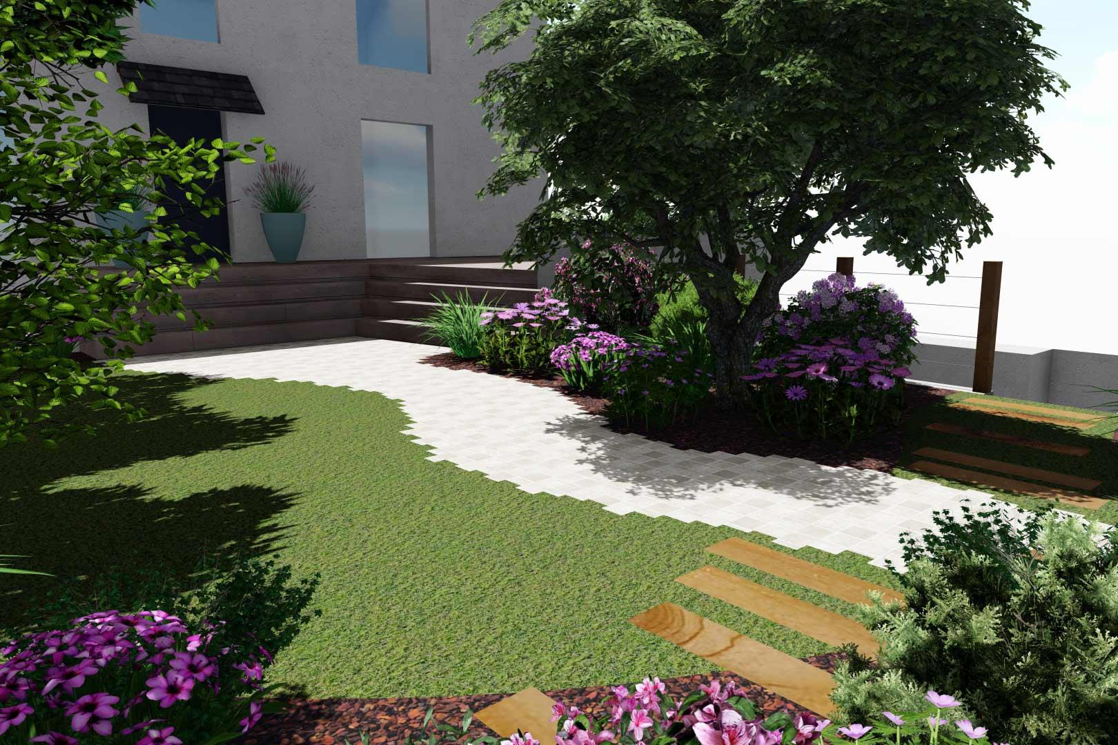 Professionnels du paysage, Serrault Jardins crée des accès, massifs en harmonie avec votre maison.