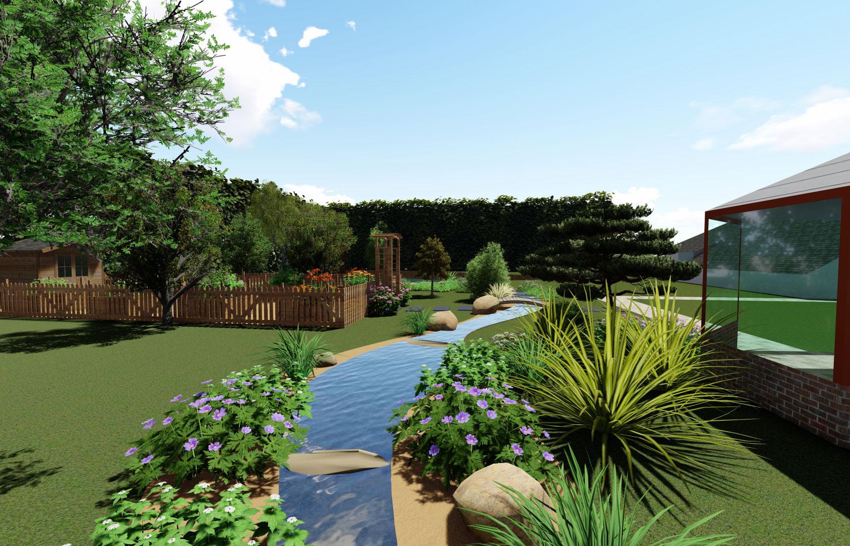 Serrault Jardins, jardinier paysagiste en touraine réalise des cascades et bassins.